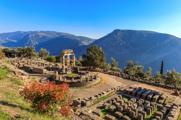 Temple in Ancient Delphi, Greece