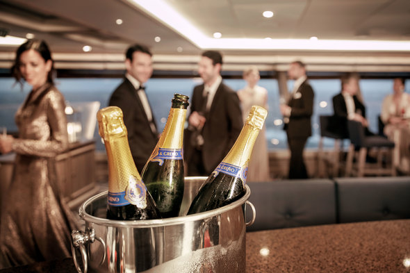 Champagne reception on board Silversea