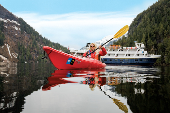 Single traveller kayaking in Alaska with Lindblad Expeditions