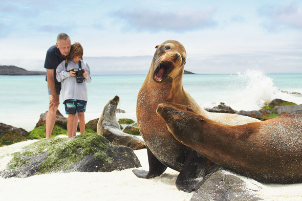 Family on a Galapagos cruise with Lindblad Expeditions