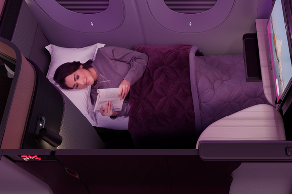 Business Class flatbed seat on Qatar Airways