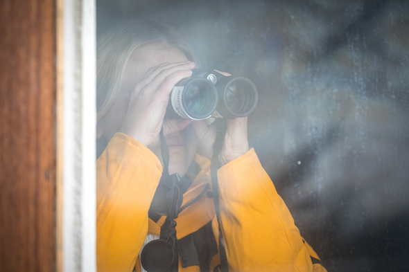 Using binoculars on a Quark Expeditions cruise