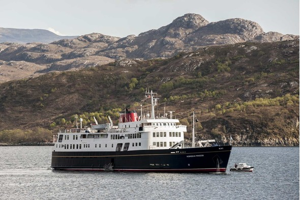Hebridean Princess cruising off the coast of Scotland