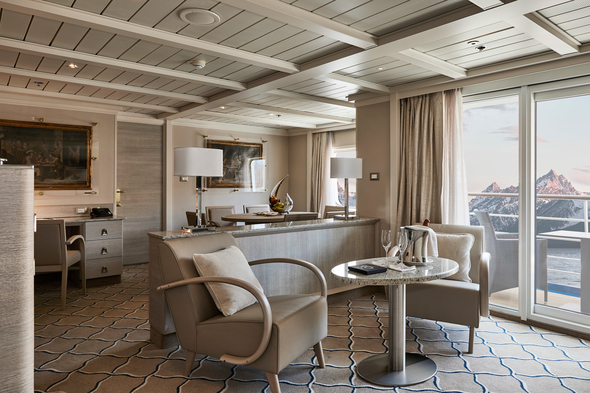A suite on the expedition ship Silver Cloud