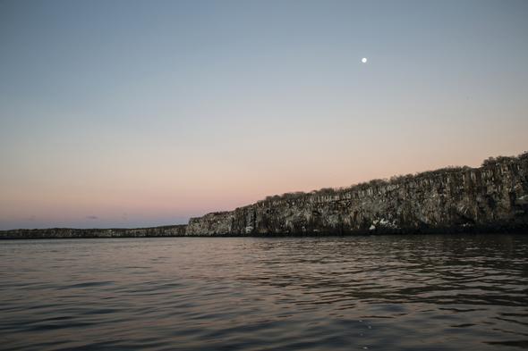Sunset over the Galapagos coast