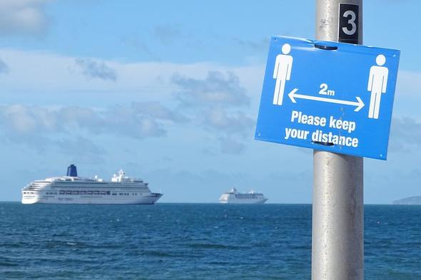 Cruise ships moored off the south coast of the UK during the coronavirus pandemic