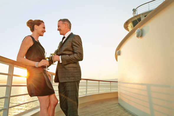 Guests in formal wear on Seabourn