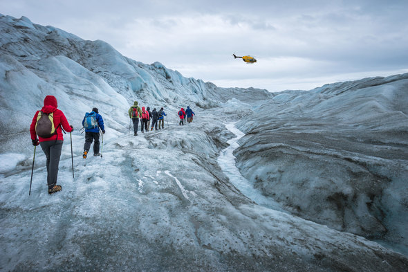 Heli-hiking in Greenland with Quark Expeditions