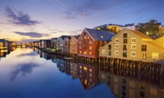 Trondheim waterfront in the evening, Norway