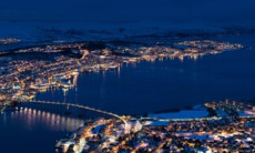 Aerial view of Tromso, Norway at night