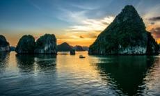 Sunset over Halong Bay, Vietnam