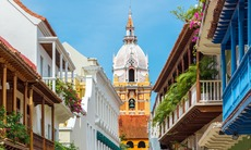 Balconies and cathedral in Cartagena, Colombia