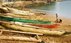 Boats on the beach in São Tomé