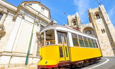 Tram outside Lisbon cathedral, Portugal