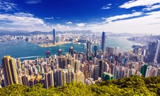 Aerial view of Hong Kong skyline