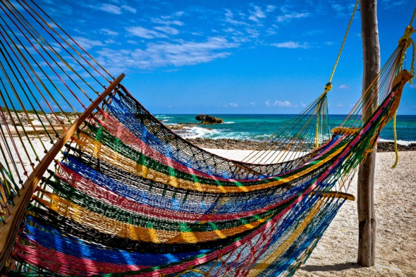 Hammock on the beach in Cozumel, Mexico