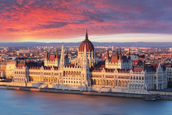 Budapest parliament at sunrise, Hungary