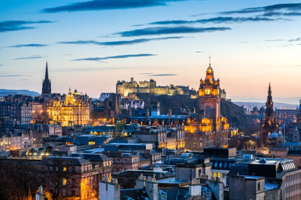 Cruises from Scotland - Edinburgh sunset