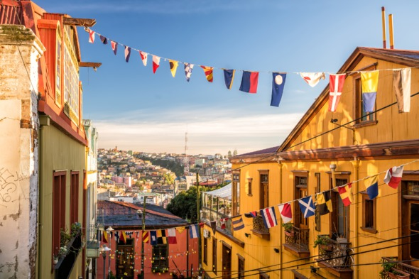 Colourful buildings in Valparaíso, Chile