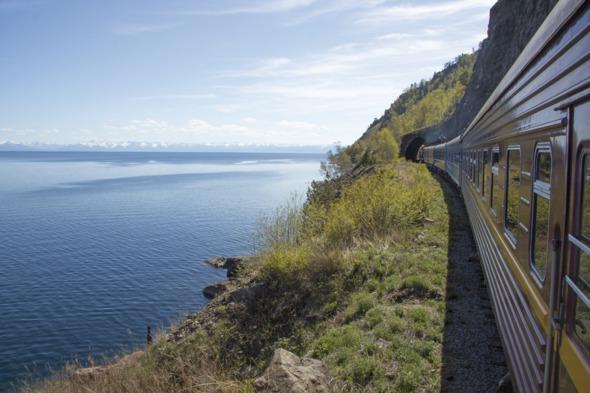 Tsar's Gold train on Lake Baikal, Russia