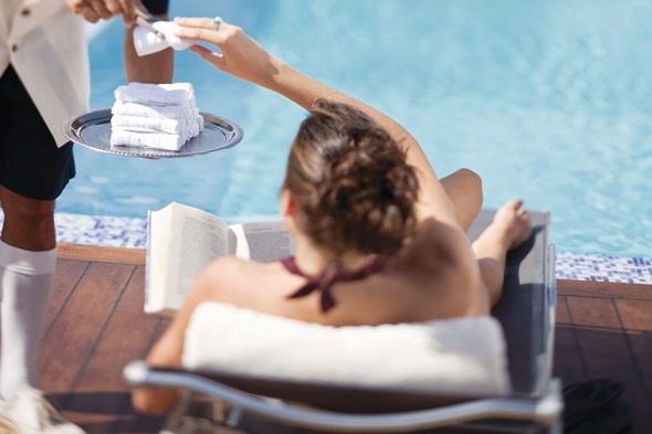 Pool service on a Silversea luxury cruise