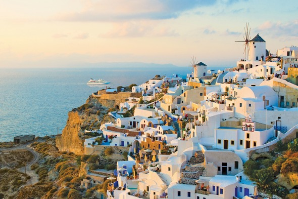Windstar in Santorini, one of the highlights of a Mediterranean cruise