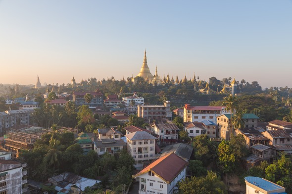 Sunrise over Shwedagon Pagoda in Yangon, Myanmar (Burma)