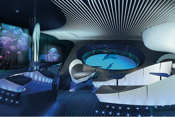 Ponant's underwater Blue Eye Lounge