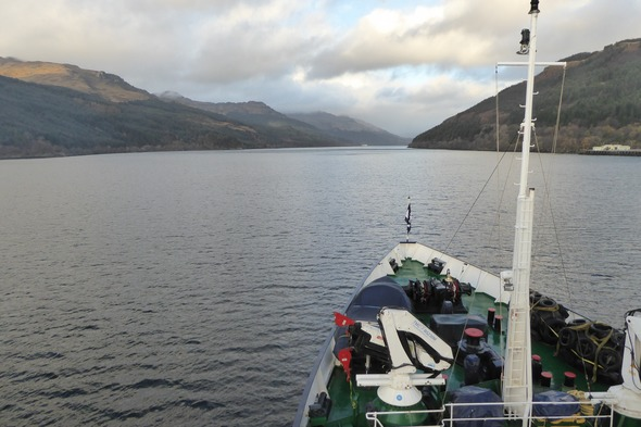 Hebridean Princess cruising Loch Long, Scotland