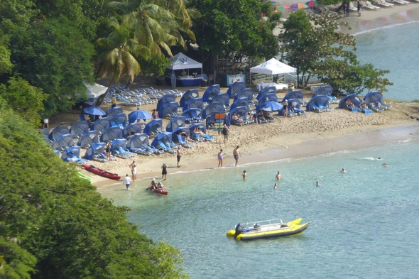 Windstar Island Experience on the beach in Pigeon Island, Saint Lucia