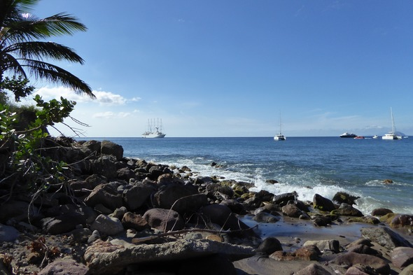 Windstar Cruises - Wind Surf anchored off the Caribbean island of Montserrat