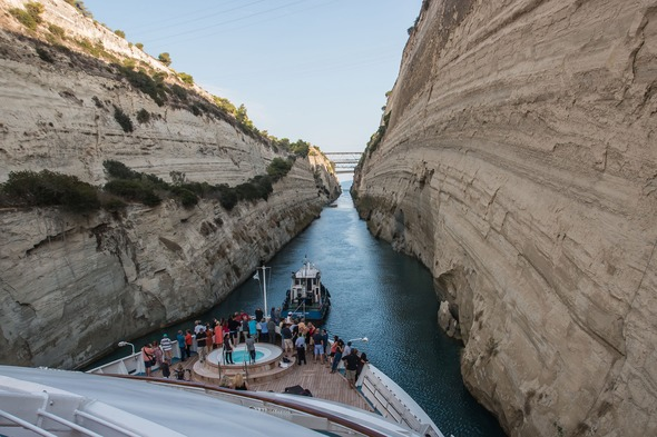 Windstar's Star Breeze in the Corinth Canal, Greece (Photo by Gary Bembridge)
