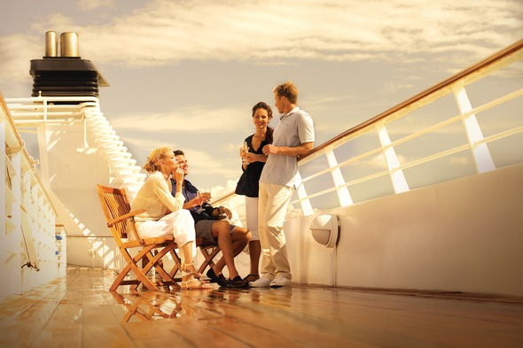 Seabourn guests relaxing on deck