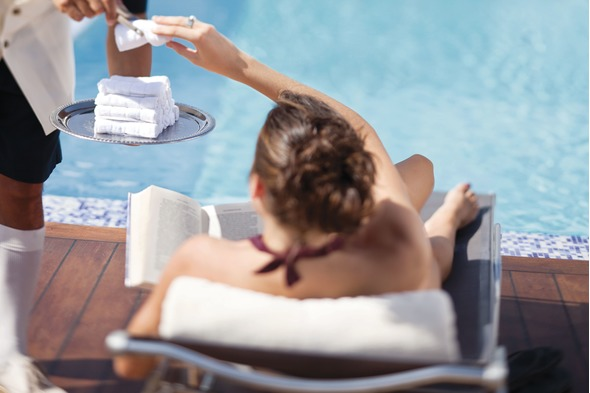 Service by the pool on a Silversea cruise