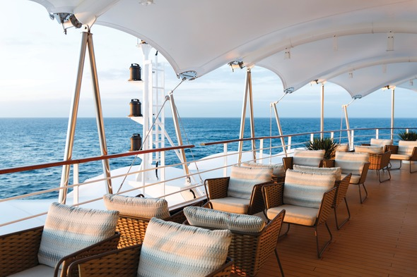 Outdoor seating on Silver Spirit