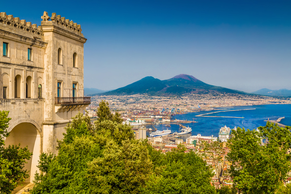 View of Naples and Mt. Vesuvius, Italy