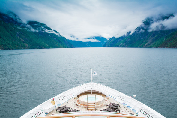 Windstar's Star Legend cruising along a fjord