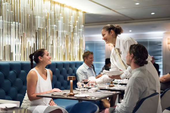 Diners in the Yacht Club on board Crystal Esprit