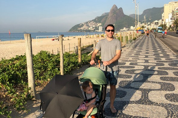 Alex and daughter Sophia on Ipanema Beach, Rio de Janeiro