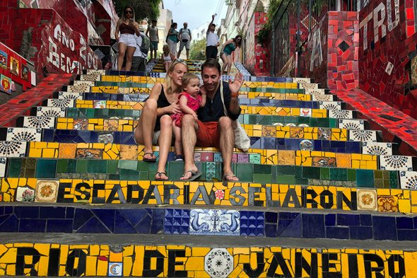 Alex, Lynsey & Sophia on the Escadaria Selaron, Rio de Janeiro