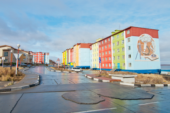 Brightly coloured buildings in Anadyr, Russia
