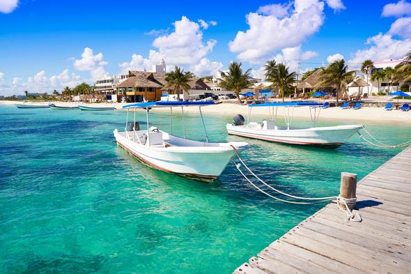 Boats in Puerto Morelos, Mexico