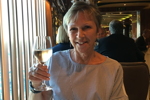 Susan dining on Seabourn Odyssey
