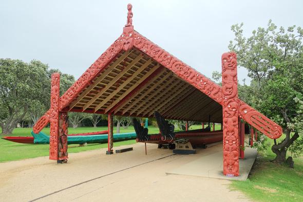 Maori canoes in Waitangi, New Zealand
