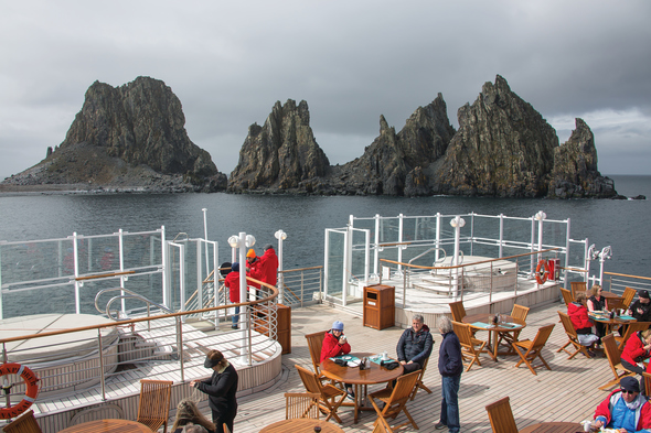 Silver Explorer - Guests enjoying lunch on deck in Antarctica