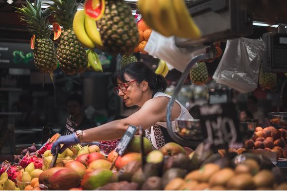 Fruit and vegetable market in Barcelona