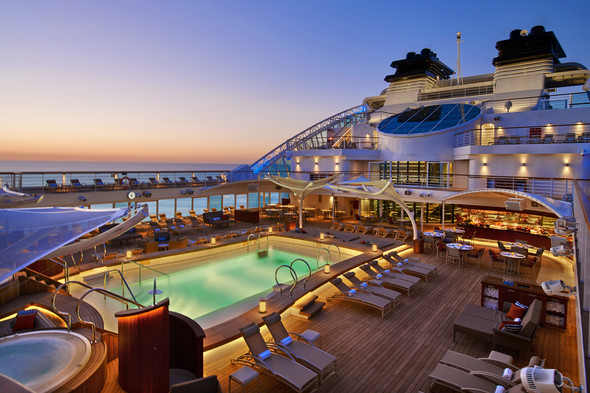 Seabourn Encore - Pool deck by night
