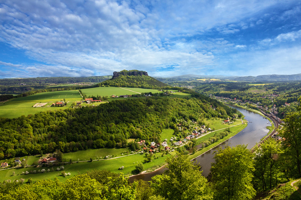 Elbe river cruise in Saxony, Germany