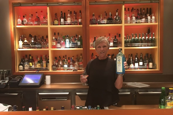 Susan on Europa 2 - Gin tasting at Collins bar