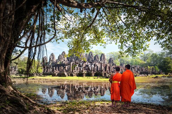 Monks at Angkor, Cambodia